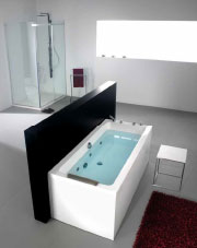 An installed Porcelanosa bath