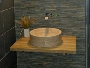 small basin in bathroom installation