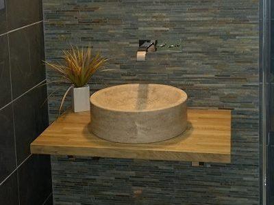 small basin in bathroom installation